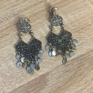 Vintage Silver Tone Clip On Chandelier Earrings